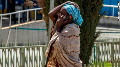 A family member of a victim of the crash awaits news at Addis Ababa airport.