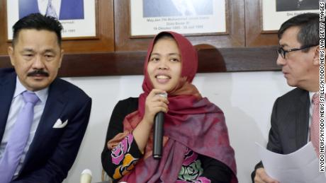 Siti Aisyah speaks at a news conference in the Indonesian Embassy in Kuala Lumpur on Monday.