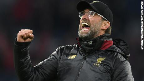 Liverpool's German manager Jurgen Klopp celebrates his side's victory in Munich.