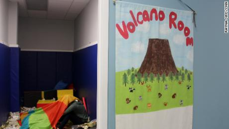 The center's volcano room lets kids express their emotions.