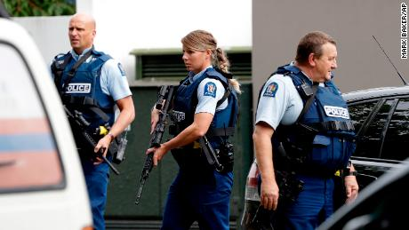 Police responding to one of two shootings at mosques in Christchurch, New Zealand. One of the shooters appears to have livestreamed footage of the deadly attack.
