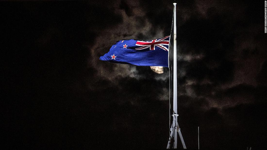 New Zealand's national flag is flown at half-staff on a Parliament building in the capital, Wellington, on Friday, March 15.