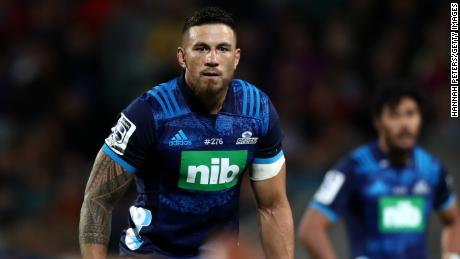 Sonny Bill Williams of the Blues looks on during the round 4 Super Rugby match against the Sunwolves at QBE Stadium in Auckland