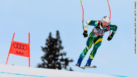 Laidlaw competes in the men's Super G event at the 2019 FIS Alpine Ski World Championships at the National Arena in Are