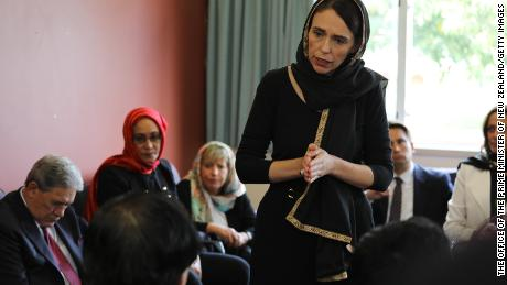 New Zealand Prime Minister Jacinda Ardern meets with Muslim community representatives  in Christchurch.