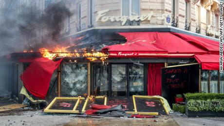 Fouquet's restaurant on the Champs-Élysées in Paris was heavily damaged in the yellow vest protests Saturday.