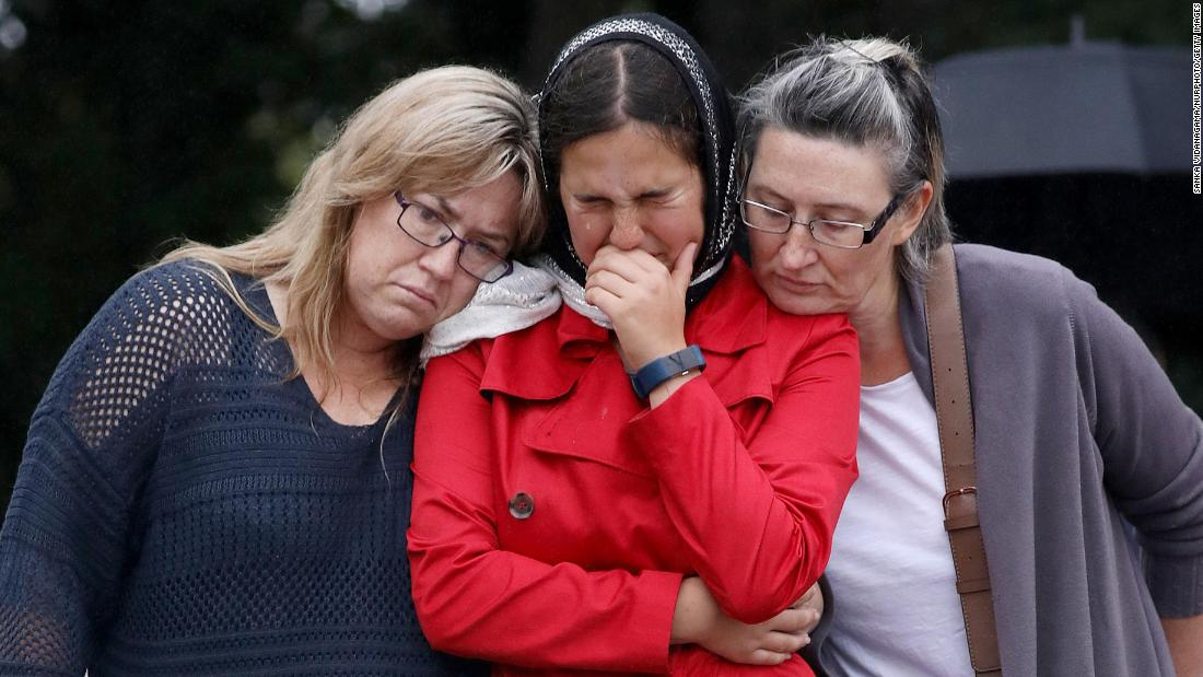 Residents pay their respects outside the Al Noor mosque in Christchurch, New Zealand, on March 17.