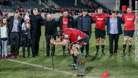 Crusaders' captain Sam Whitelock celebrates last year's Super Rugby final victory over the Lions.