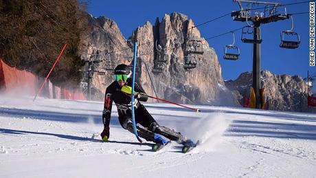 Belgium olympic skier Dries Van den Broecke in action.