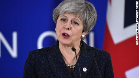 British Prime Minister Theresa May speaks in Brussels.