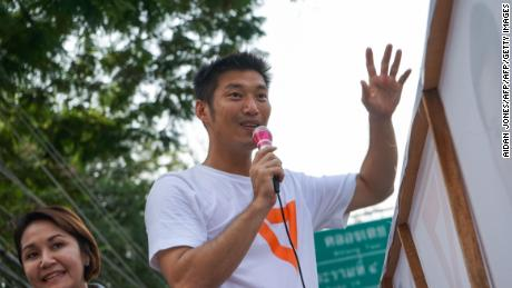 Thai political party 'Future Forward' leader Thanathorn Juangroongruangkit campaigning in  Bangkok on March 3, 2019.
