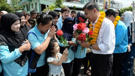 Former Thai prime minister and Democratic Party leader Abhisit Vejjajiva during a campaign rally in Narathiwat on March 2, 2019.