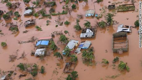 Houses in a flooded area of Buzi, central Mozambique, on March 20, 2019, after the passage of Cyclone Idai.