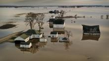 Floodwater surrounds a farm last year near Craig, Missouri. Midwest states battled some of the worst floods in decades in 2019, and there is fear of what could happen if disaster strikes again this year.