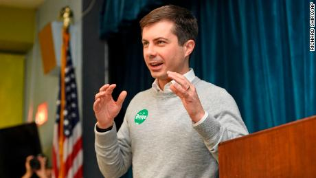 South Bend Mayor Pete Buttigieg speaks Saturday during the Democratic monthly breakfast held at the Circle of Friends Community Center in Greenville, South Carolina. (AP Photo/Richard Shiro)