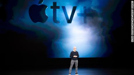 Apple CEO Tim Cook introduces Apple tv+ during a launch event at Apple headquarters on March 25, 2019, in Cupertino, California. (Photo by NOAH BERGER / AFP)        (Photo credit should read NOAH BERGER/AFP/Getty Images)