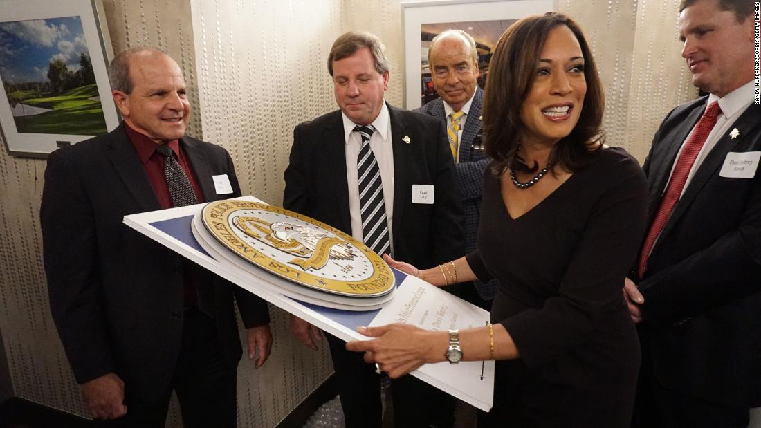 Harris receives a gift from supporters in January 2015, after she announced plans to run for the US Senate.