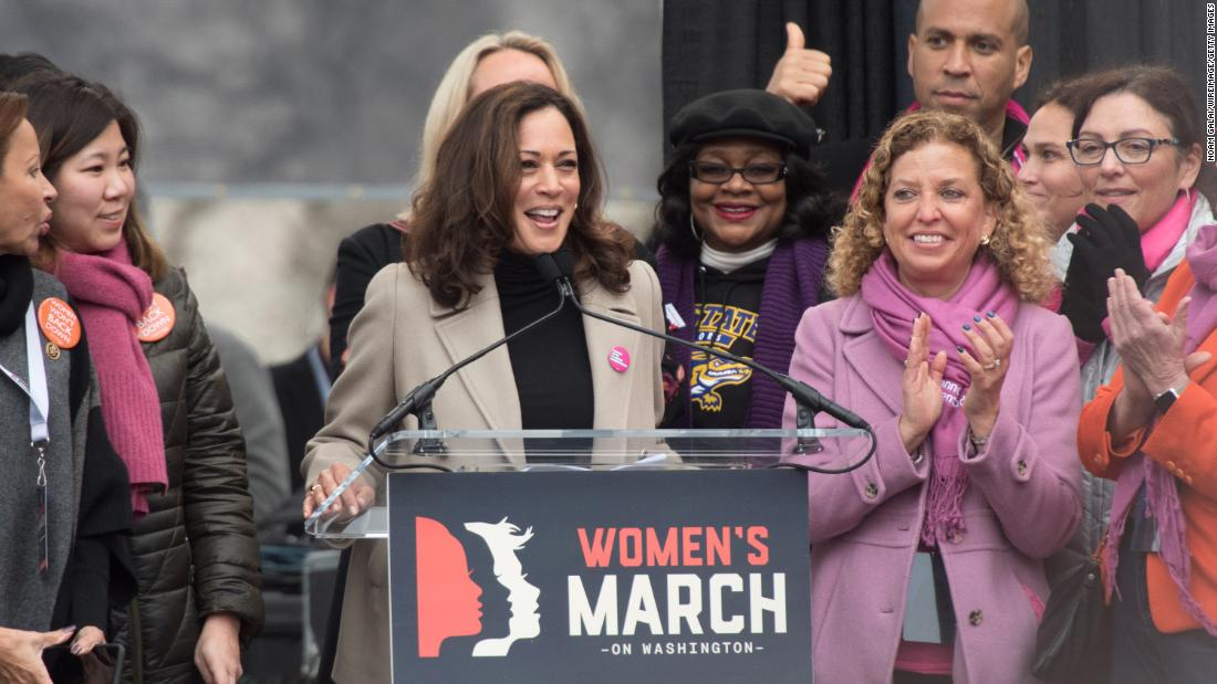 Harris attends the Women's March on Washington in January 2017.