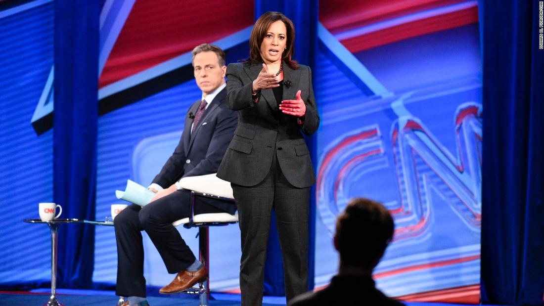 Harris speaks during her CNN town-hall event, which was moderated by Jake Tapper in Iowa in January 2019.
