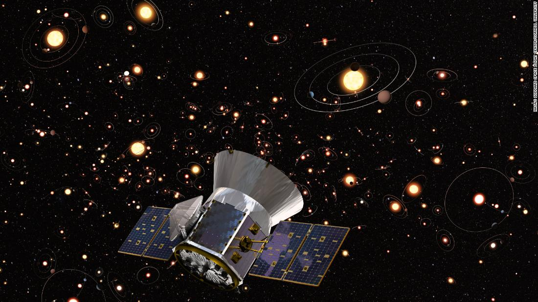 Artist's concept of TESS against background of stars & orbiting planets in the Milky Way. Credit: ESA, M. Kornmesser (ESO), Aaron E. Lepsch (ADNET Systems Inc.), Britt Griswold (Maslow Media Group), NASA's Goddard Space Flight Center & Cornell University