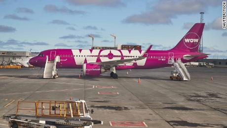 KEFLAVIK ICELAND- APRIL 28 2018 Wow Air Airbus A320 at Iceland's international airport. WOW Air started to offer connecting flight between North America and Europe with a stop in Iceland