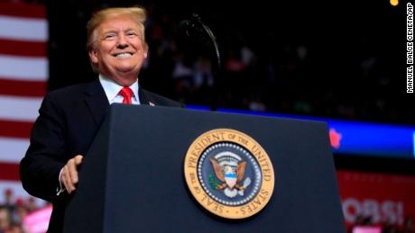 President Donald Trump speaks at a campaign rally in Grand Rapids, Mich., Thursday, March 28, 2019. (AP Photo/Manuel Balce Ceneta)