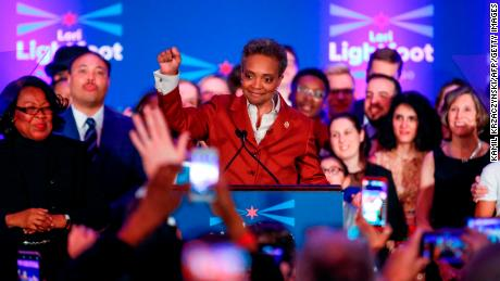 Chicago mayor elect Lori Lightfoot (C) arrives on stage before speaking during the election night party in Chicago, Illinois on April 2, 2019. - In a historic first, a gay African American woman was elected mayor of America's third largest city Tuesday, as Chicago voters entrusted a political novice with tackling difficult problems of economic inequality and gun violence. Lori Lightfoot, a 56-year-old former federal prosecutor and practicing lawyer who has never before held elected office, was elected the midwestern city's mayor in a lopsided victory. (Photo by Kamil Krzaczynski / AFP)        (Photo credit should read KAMIL KRZACZYNSKI/AFP/Getty Images)