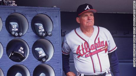 4 Apr 1994: ATLANTA BRAVES MANAGER BOBBY COX IN THE DUGOUT AT SAN DIEGO JACK MURPHY STADIUM.