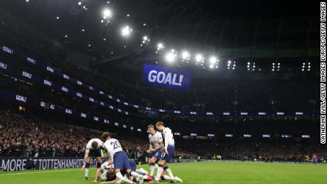 Heung-Min Son of Tottenham Hotspur celebrates after scoring his team's first goal.