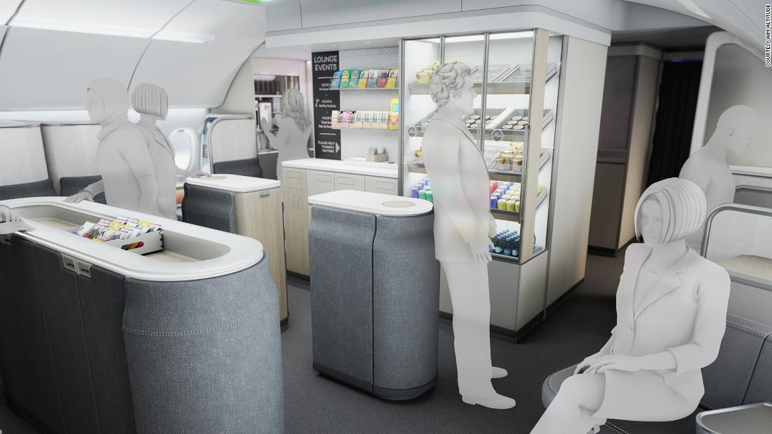 Ultraflex: An airplane space that's a grocery store, fitness studio and restaurant