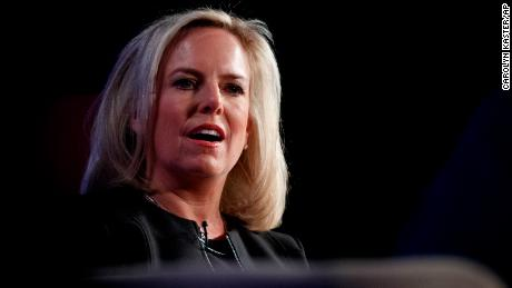 Homeland Security Secretary Kirstjen Nielsen speaks at George Washington University's Jack Morton Auditorium in Washington, Monday, March 18, 2019 (AP Photo/Carolyn Kaster)