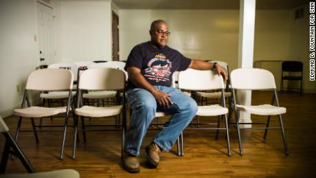 Ronald Milburn poses for a portrait at a masonic lodge where the Greater Union Baptist Church is currently holding services.