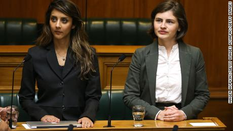 Green MPs (members of Parliament) Golriz Ghahraman and Chloe Swarbrick in Parliament in Wellington, New Zealand on November 8, 2017.