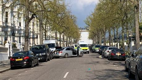 The scene at Holland Park where police arrested a 40-year-old man for ramming the Ukrainian Ambassador's car.