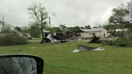 Damage around Alto, Texas, in the wake of a possible tornado passing through the town.