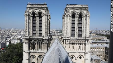 The twin bell towers of Notre Dame Cathedral.