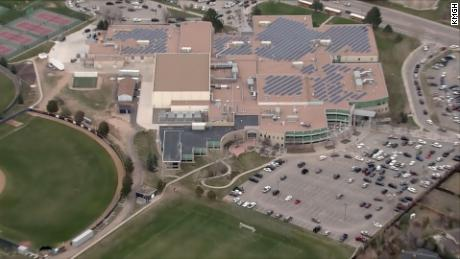 "Columbine High School is seen during a lockdown after being alerted to a ""credible threat"" by authorities on Tuesday."