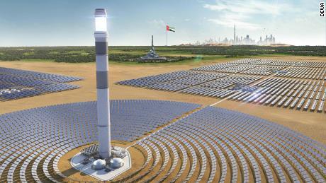 Một bản vẽ kỹ thuật số của tháp năng lượng mặt trời tập trung được lên kế hoạch cho Công viên năng lượng mặt trời Mohammed Bin Rashid Al Maktoum ở Dubai.