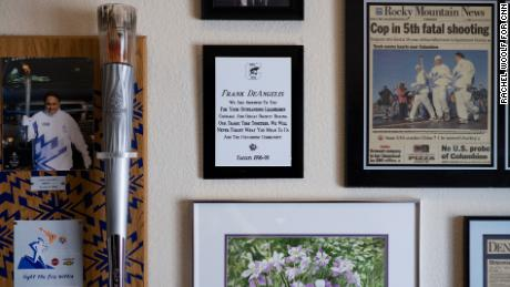Framed memorabilia are displayed on Frank DeAngelis' office walls at his home.
