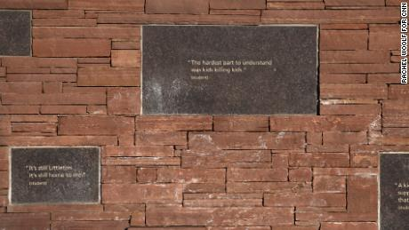 Quotes are inscribed at the Columbine Memorial.