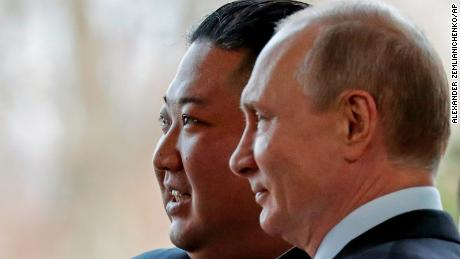 Russian President Vladimir Putin, right, and North Korea's leader Kim Jong Un pose for photographers during their meeting in Vladivostok, Russia, Thursday, April 25, 2019. Putin and Kim are set to have one-on-one meeting at the Far Eastern State University on the Russky Island across a bridge from Vladivostok. The meeting will be followed by broader talks involving officials from both sides. (AP Photo/Alexander Zemlianichenko, Pool)