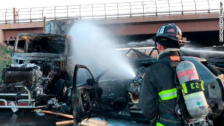The crash triggered a series of explosions on Interstate 70 near Denver.