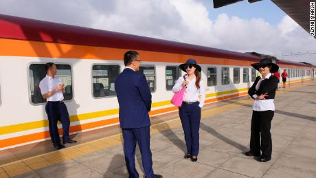 Chinese staff are visible at all stations along the railway line in Kenya.