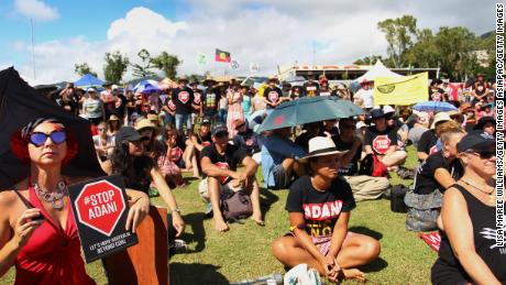 Campaigners and locals attend a rally against the Adani mine in Airlie Beach, April 26.
