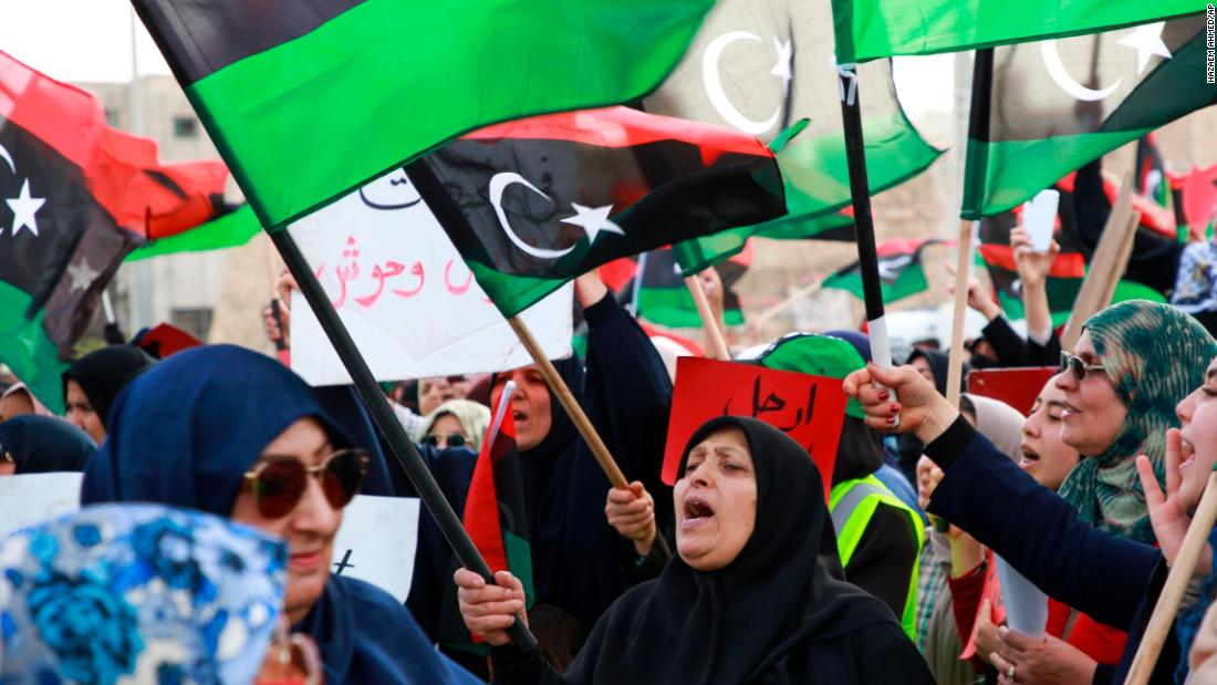 Libyans hold a demonstration at Martyrs' Square against military operations by forces loyal to Haftar in Tripoli on Friday, May 3.