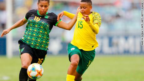 Les Reggae Girlz ont joué contre l'Afrique du Sud lors d'un match international amical plus tôt cette année.