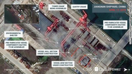 Satellite images released by CSIS which could show the new advanced Chinese aircraft carrier under construction in April.