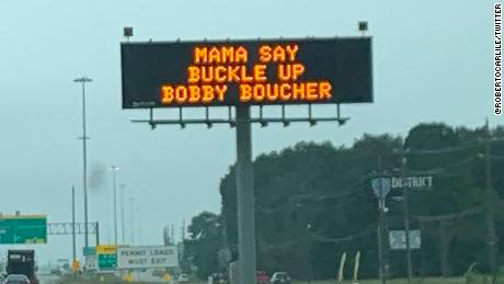 "This Texas Department of Transportation sign channels ""The Waterboy"" to remind people stay safe while driving during Mother's Day weekend."