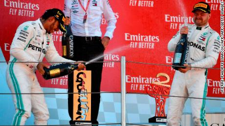 Hamilton and Bottas celebrate on the podium