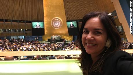 La sénatrice Lisa Singh à l'Assemblée générale des Nations Unies alors qu'elle était observatrice du Parlement australien à l'ONU en 2016.